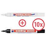 edding Permanentmarker 3000 1,5 3 mm Schwarz 10 Stück inkl. 1 edding Reifenmarker 8050
