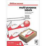 Office Depot Rechte hoeken Multifunctionele etiketten Wit 105 x 148 mm 100 Vel 400 Stuks