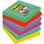 Post it Super Sticky Notes Marrakech Groen, rood, blauw, paars, curry Effen 76 x 76 mm 6 x 90 Vel