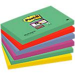 Post it Super Sticky Notes Marrakech Groen, rood, blauw, paars, curry Effen 76 x 127 mm 6 x 90 Vel