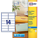 Avery QuickPEEL™ Inkjet adresetiketten Transparant 99,1 x 38,1 mm 25 Vel 350 Stuks