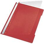 Leitz Snelhechtermappen 41910025 A4 Rood PVC Transparante voorzijde   25 Stuks