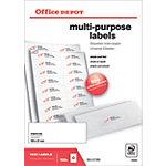 Office Depot Rechte hoeken Multifunctionele etiketten Wit 105 x 37 mm 100 Vel 1600 Stuks