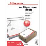 Office Depot Rechte hoeken Multifunctionele etiketten Wit 210 x 297 mm 100 Vel 100 Stuks