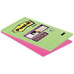 Post it Super Sticky Gelinieerde zelfklevende notes Groen en roze Ruled 127 x 203 mm 70 g