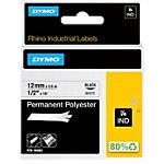 DYMO Permanente polyester tape Rhino Zwart op Wit 12 mm x 5,5 m