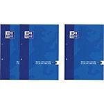 OXFORD 3202434 Cursusblok Blauw Geruit 2 gaats A4   90 g