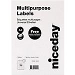Niceday Rechte hoeken Multifunctionele etiketten met rechte hoeken Wit 70 x 36 mm 100 Vel 2400 Stuks