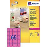 Avery Mini etiketten Fluo rose 38,1 x 21,2 mm 100 Vel 6500 Stuks