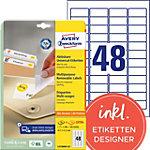 Avery Stick & Lift Herkleefbare etiketten Wit 45,7 x 21,2 mm 25 Vel 1200 Stuks