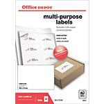 Étiquettes multifonctions Office Depot Coins droits  Blanc 105 x 70 mm 100 Feuilles