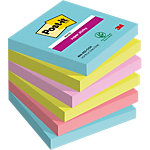 Notes adhésives Post it Super Sticky Assortiment 76 x 76 mm 6 x 90 Feuilles