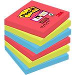 Notes adhésives repositionnables Post it Super Sticky Bora Bora Collection Magenta, vert, bleu foncé 76 x 76 mm 6 x 90 Feuilles