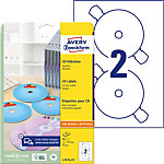 Étiquettes CD et DVD autocopiantes Avery Mat Blanc Ø 117 mm 50 Unités