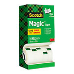 Ruban adhésif d'emballage Scotch Magic Transparent 19 mm x 33 m 12 rouleaux + 2 rouleau gratuit