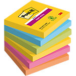 Notes adhésives repositionnables Post it Super Sticky Jaune, bleu clair, vert fluo, rose, orange 76 x 76 mm 6 x 90 Feuilles