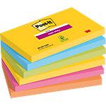 Notes adhésives repositionnables Post it Super Sticky Jaune, bleu clair, vert fluo, rose, orange 76 x 127 mm 6 x 90 Feuilles