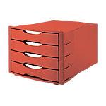 Module de classement Office Depot Rouge 4 tiroirs 29,4 x 38 x 23,5 cm