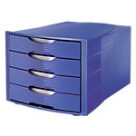 Module de classement Office Depot Bleu 4 tiroirs 29,4 x 38 x 23,5 cm