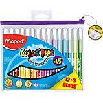 Feutres Maped Color'Peps pointe biseautée Assortiment 15 Unités