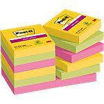 Notes adhésives Post it Super Sticky Assortiment 47,6 x 47,6 mm 12 x 90 Feuilles