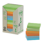 Notes adhésives recyclées Post it 653 1RPT Assortiment de couleurs 38 x 51 mm 24 x 100 Feuilles