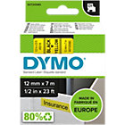 Ruban d'étiquettes DYMO D1 45018 Noir sur Jaune 12 mm x 7 m