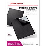 Office Depot Einbanddeckel Karton Ledergenarbt A4 Schwarz 100 Stück