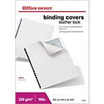 Office Depot Einbanddeckel Karton Ledergenarbt A4 Weiss 100 Stück