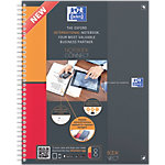 OXFORD Collegeblöcke Notebook Connect Grau kariert 4 fach Lochung DIN A4+ 23 x 29,7 cm Pack 5