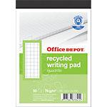 Office Depot Recycling Notizblock Weiss Kariert A6 10.5 x 14.8 cm 50 Blatt
