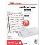 Étiquettes multifonctions Office Depot Coins droits  Blanc 70 x 37 mm 100 Feuilles
