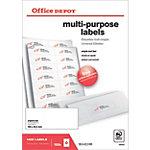 Étiquettes multifonctions Office Depot Coins droits  Blanc 105 x 42,3 mm 100 Feuilles