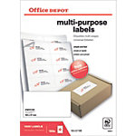 Étiquettes multifonctions Office Depot Coins droits  Blanc 105 x 57 mm 100 Feuilles