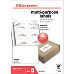 Étiquettes multifonctions Office Depot Coins droits  Blanc 105 x 74 mm 100 Feuilles