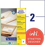 Étiquettes recyclées Avery Blanc 210 x 148 mm 100 Feuilles
