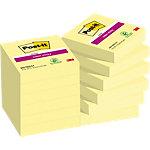 Notes adhésives Post it Super Sticky jaune 48 x 48 mm 12 unités de 90 feuilles 12 unités de 90 feuilles