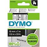 Étiquettes Dymo D1 Noir sur Transparent 12 mm x 7 m