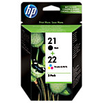 Cartouche jet d'encre HP D'origine 21 + 22 Noir, Cyan, Magenta, Jaune SD367AE Duopack
