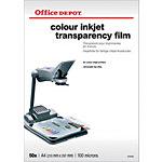 Transparents pour imprimante jet d'encre Office Depot 100 Microns A4 210 x 297 mm 50 Unités