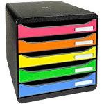 Module de classement Exacompta 309798D Noir, arlequin 4 tiroirs 27.8 x 34.7 x 27.1 cm