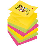 Notes adhésives Post it Rio jaune, fuschia, orange néon 76 x 76 mm 6 unités de 90 feuilles 6 unités de 90 feuilles