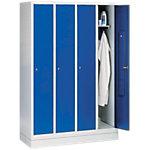 Armoire à casiers C+P Sur socle 4 Casiers Gris clair, bleu