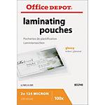 Pochettes de plastification Office Depot Spécial 2 x 125 (250) µm Transparent Brillant