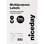 Étiquettes multifonctions Niceday Coins droits Blanc 210 x 297 mm 100 Feuilles 100 Unités