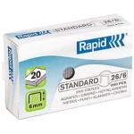Lot de 4 boîtes de 1000 agrafes - Rapid - 26/6 standard