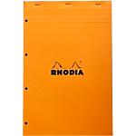 Bloc de bureau   Rhodia   Perforé 4 trous   A4 détaché   210 x 320 mm   petits carreaux   blanc