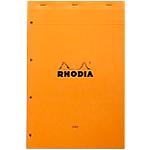 Bloc de bureau   Rhodia   Perforé 4 trous   A4 détaché   210 x 320 mm   ligné jaune + marge rouge