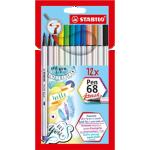 Feutre pinceau STABILO Pen 68 brush Assortiment - 12 Unités
