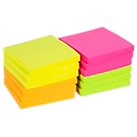 12 blocs de notes repositionnables   Office DEPOT   76 x 76 mm   coloris néon